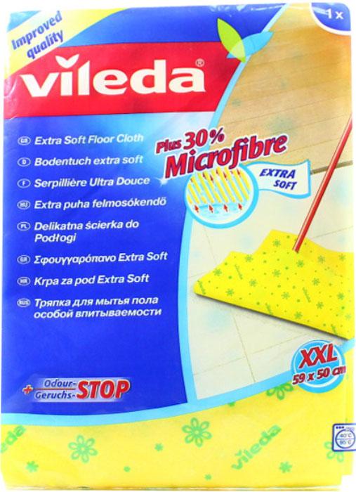 Тряпка для мытья пола Vileda Extra SoftK100Тряпка Vileda Extra Soft предназначена для мытья полов. Тряпка обладает высокой впитывающей способностью и легко выжимается. Отлично собирает грязь и влагу. Не оставляет разводов. Характеристики: Материал:70 % вискоза, 15% полипропилен, 15% полиэстер. Размер:59 см х 50 см. Производитель:Германия. Артикул:3515-9.