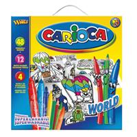 """Большой набор для рисования """" Carioca World"""" подарит вашему малышу радость творчества. В распоряжении юного живописца 48 ярких фломастеров, 12 цветных карандашей и 4 трафарета для раскрашивания. Набор упакован в картонную коробку с пластиковой ручкой, которую легко взять с собой в дорогу. Специальные чернила на водной основе, используемые в фломастерах, легко смываются с большинства тканей. Порадуйте своего непоседу таким замечательным подарком!"""