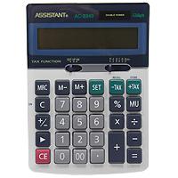 Калькулятор Assistant AC-2340, 12-разрядныйAC-2211Классический настольный калькулятор с большим 12-разрядным дисплеем и чувствительной клавиатурой с большими пластиковыми кнопками. Калькулятор имеет двойную систему питания: от солнечного элемента и от батареи, - что гарантирует ему бесперебойную работу на несколько лет. 12-ти разрядный дисплейВычисление процентовТАХ - функцияОперации с наценками и скидкамиДвойное питаниеПластиковые кнопки Металлическая лицевая панель Чувствительная клавиатураУдаление последнего введенного символа Характеристики: Размер калькулятора: 17 x 12,2 x 3,3 см. Размер дисплея: 10 см х 2,1 см. Цвет: черный. Изготовитель: Китай.