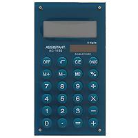 Стильный карманный калькулятор в ярком цветном корпусе с круглыми резиновыми кнопками, окрашенными в цвет корпуса - это не только помощник в вычислениях, но и стильный деловой аксессуар. Калькулятор оснащен 8-разрядным дисплеем-линзой, увеличивающим цифры. Позволяет вычислять проценты и запоминать промежуточные результаты вычислений. Калькулятор имеет двойную систему питания: от солнечного элемента и от батареи.   8-разрядный дисплей  Вычисление процентов   Цветной пластиковый корпус  Двойное питание   Резиновые кнопки   Дисплей с выпуклой линзой   Характеристики: Размер калькулятора: 12,1 x 6,1 x 0,9 см. Размер дисплея: 4,5 см х 1,6 см. Цвет: зеленый. Изготовитель: Китай.