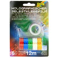 """Клейкая лента с голографическим рисунком """"Folia"""" - блестящее решение для упаковки подарков и декорирования. В набор входит шесть лент красного, синего, зеленого, серебристого, желтого и розового цветов, а так же диспенсер."""
