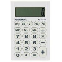 Калькулятор Assistant AC-1116, 8-разрядный, цвет: белыйFS-00103Стильный карманный калькулятор в ярком цветном корпусе с круглыми резиновыми кнопками, окрашенными в цвет корпуса, - это не только помощник в вычислениях, но и стильный деловой аксессуар. Калькулятор оснащен 8-разрядным дисплеем-линзой, увеличивающим цифры. Позволяет вычислять проценты и запоминать промежуточные результаты вычислений. Калькулятор работает от батареи. Характеристики: Цвет: белый. Материал: пластик, резина. Размер дисплея: 4,5 см х 1,5 см. Размер калькулятора: 6,2 x 9,3 x 1 см. Размер упаковки: 6,6 см x 12,3 см x 1,5 см.