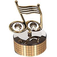 Фигурка декоративная Нотки, на музыкальной подставке. 67291U210DFДекоративная фигурка выполнена в виде нотки, оформленной кристаллами Сваровски. Фигурка будет вас радовать и достойно украсит интерьер вашего дома или офиса. Вы можете поставить украшение в любом месте, где оно будет удачно смотреться и радовать глаз. Кроме того, эта фигурка - отличный вариант подарка для ваших близких и друзей.Характеристики:Материал:углеродная сталь, австрийские кристаллы. Размер фигурки: 10 см х 6,5 см х 6,5 см. Размер упаковки: 13 см х 8,5 см х 8,5 см. Производитель: Китай. Артикул: 67291.Более чем 30 лет назад компанияCrystocraftвыросла из ведущего производителя в перспективную торговую марку, которая задает тенденцию благодаря безупречному чувству красоты и стиля. Компания создает изящные, качественные, яркие сувениры, декорированные кристалламиSwarovskiразличных размеров и оттенков, сочетающие в себе превосходное мастерство обработки металлов и самое высокое качество кристаллов.