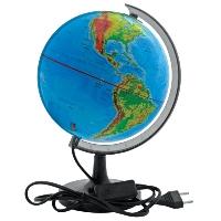 """Географический глобус """"Rotondo"""" с физической картой мира станет незаменимым атрибутом обучения не только школьника, но и студента. На глобусе отображены линии картографической сетки, гидрографическая сеть, рельеф суши и морского дна, элементы почвенно-растительного покрова, крупнейшие населенные пункты, теплые и холодные течения. Глобус имеет функцию подсветки от электрической сети. Глобус является уменьшенной и практически не искаженной моделью Земли и предназначен для использования в качестве наглядного картографического пособия, а также для украшения интерьера квартир, кабинетов и офисов. Красочность, повышенная наглядность визуального восприятия взаимосвязей, отображенных на глобусе объектов и явлений, в сочетании с простотой выполнения по нему различных измерений делают глобус доступным широкому кругу потребителей для получения разнообразной познавательной, научной и справочной информации о Земле."""