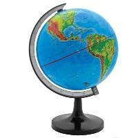 """Географический глобус """"Rotondo"""" с физической картой мира станет незаменимым атрибутом обучения не только школьника, но и студента. На глобусе отображены линии картографической сетки, гидрографическая сеть, рельеф суши и морского дна, элементы почвенно-растительного покрова, крупнейшие населенные пункты, теплые и холодные течения. Глобус является уменьшенной и практически не искаженной моделью Земли и предназначен для использования в качестве наглядного картографического пособия, а также для украшения интерьера квартир, кабинетов и офисов. Красочность, повышенная наглядность визуального восприятия взаимосвязей, отображенных на глобусе объектов и явлений, в сочетании с простотой выполнения по нему различных измерений делают глобус доступным широкому кругу потребителей для получения разнообразной познавательной, научной и справочной информации о Земле."""