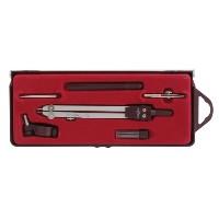 """Готовальня """"Rotondo"""" включает 6 предметов: металлический циркуль радиусом 13 см с подвижной иглой, рейсфедер, ручку рейсфедера, игольную вставку, держатель для карандаша и дополнительные графитные стержни в контейнере. Все металлические детали чертежных инструментов выполнены из высококачественной прочной стали и надежно скреплены между собой. Предметы упакованы в пластиковый футляр с прозрачной крышкой и бархатной красной подложкой."""