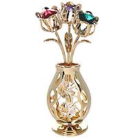 Фигурка декоративная Ваза с букетом. 6744025051 7_желтыйДекоративная фигурка выполнена в виде вазы с букетом цветов, оформленной разноцветным кристаллами Swarovski. Фигурка будет вас радовать и достойно украсит интерьер вашего дома или офиса. Вы можете поставить украшение в любом месте, где оно будет удачно смотреться и радовать глаз. Кроме того, эта фигурка - отличный вариант подарка для ваших близких и друзей. Характеристики:Материал:углеродная сталь, австрийские кристаллы. Размер фигурки: 10 см х 3,5 см х 3 см. Размер упаковки: 13,5 см х 8,5 см х 8,5 см. Производитель: Китай. Артикул: 67440.Более чем 30 лет назад компанияCrystocraftвыросла из ведущего производителя в перспективную торговую марку, которая задает тенденцию благодаря безупречному чувству красоты и стиля. Компания создает изящные, качественные, яркие сувениры, декорированные кристалламиSwarovskiразличных размеров и оттенков, сочетающие в себе превосходное мастерство обработки металлов и самое высокое качество кристаллов.