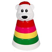 Пирамидка Мишка белый, 25 см игрушка пирамидка мишка топтыжка