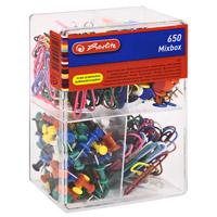 """Набор Herlitz """"Mixbox"""" состоит из 180 коротких скрепок, 50 длинных скрепок, 100 кнопок-гвоздиков и 320 обычных кнопок. Скрепки выполнены из металла с пластиковым покрытием. Кнопки имеют металлические гвоздики и пластиковые шляпки. Набор упакован в платиковую коробку с ячейками для каждого вида канцелярских принадлежностей. Набор Herlitz """"Mixbox"""" займет свое достойное место на вашем рабочем столе."""