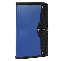 Визитница Index, на 120 визиток, цвет: синийAY9073Современная практичная и вместительная визитница в обложке из высококачественного полипропилена с тканевой окантовкой и застежкой-резинкой рассчитана на 120 визиток.Характеристики: Материал: текстиль, пластик, металл. Размер визитницы (в закрытом виде): 14 см х 23,5 см х 1,5 см.