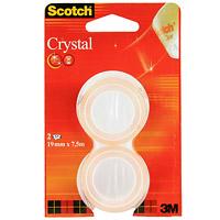 Клейкая лента Scotch Crystal, прозрачная, 2 шт0102016Кристально-прозрачная канцелярская клейкая лента Scotch Cristal с прочным клеящим слоем идеально подходит для работы в офисе, а также для ламинации документов и упаковки подарков. Эта лента легко и бесшумно разматывается и при необходимости легко отрывается руками. Отлично приклеивается, не желтеет и долго хранится. Характеристики: Ширина ленты: 1,9 см. Длина 1 рулона:7,5 м. Размер упаковки:8,7 см х 13,7 см х 1,9 см.