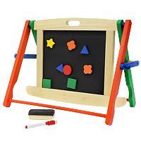 С миниатюрной школьной доской на подставке ваш ребенок может рисовать, учиться писать буквы и цифры, слова и математические примеры. Кроме самой доски в набор входят специальный маркер для рисования со стирающим элементом, которым очень удобно проводить линии, два мелка, губка, десять различных деревянных фигурок на магнитиках и два держателя. Занимаясь с ребенком, с помощью этой доски вы постепенно подготовите ребенка к школьным занятиям и спасете стены вашего жилья от росписи юным художником. Доска легко складывается и становится плоской, не занимая много места при хранении между занятиями.