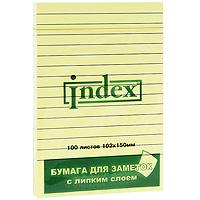 Бумага для заметок Index, с липким слоем, 100 листов2051-L**Бумагу для заметок в линейку Index, с липким слоем можно наклеивать на любую гладкую поверхность, без опасения оставить след от клея. Яркие цвета, классический дизайн и высокое качество листов выделяют предлагаемую бумагу из ряда себе подобных.Характеристики: Размер листа: 15 см х 10,2 см. Размер упаковки: 15 см х 10,2 см x 1 см.