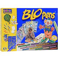 """Набор для рисования """"Blopens Air Colouring Set"""" привлечет внимание вашего малыша и не позволит ему скучать! С этим набором малыш сможет создавать разнообразные рисунки и узоры так, как ему подскажет фантазия. Набор состоит из восьми цветных фломастеров блопенов, одного черного фломастера, пяти трафаретов формата A4 для изготовления сложных рисунков, восьми трафаретов формата A5, шести листов с разнообразными сюжетами, десяти чистых листов формата A4 и десяти чистых листов формата A5. Фломастеры типа блопен рисуют с помощью воздуха. Ребенок дует в трубочку, заполненную краской, - и лист бумаги покрывается мелкими точечками. Поменял блопен - и к точкам одного цвета прибавляются другие! Необычный эффект получается, если распылять друг на друга различные цвета, или провести по рисунку влажной кисточкой. Если снять оба колпачка, получается обычный фломастер для рисунка тонкими линиями. Работа с воздушными фломастерами не только разовьет художественный вкус ребенка, но и укрепит..."""