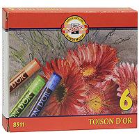 Мелки сухие Toison Dor, 6 цветов0102016Набор ярких сухих мелков Toison Dor цилиндрической формы, легко наносятся, дают красивый выразительный цвет и не осыпаются. Идеально подходят как для начинающих, так и для профессиональных художников. В наборе 6 мелков: черный, коричневый, зеленый, синий, красный и желтый. Характеристики: Размер мелка: 0,9 см х 0,9 см х 7,5 см. Размер упаковки: 11,5 см х 9,5 см х 2 см.