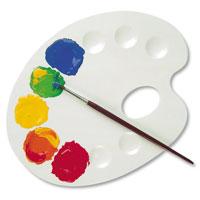 """Средняя палитра """"Primo"""", изготовленная из пластика, предназначена для смешивания красок. Палитру можно держать в руке, благодаря специальному отверстию для большого пальца, или положить рядом."""