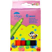 """Набор """"Idigo Maxi"""" состоит из 6 цветных фломастеров с вентилируемыми колпачками и чернилами на водной основе. Фломастеры рисуют яркими насыщенными цветами. Чернила легко смываются с рук и одежды. Фломастеры """"Idigo Maxi"""" не высыхают, находясь без колпачка до 5 дней. Подходят для рисования на различных поверхностях. Благодаря утолщенному корпусу, они идеально подходят для малышей."""