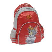 """Стильный школьный рюкзак """"Том и Джерри"""" красного цвета с серыми вставками - это красивый и удобный рюкзак, который подойдет всем, кто хочет разнообразить свои школьные будни. Благодаря ортопедической спинке и двум мягким плечевым ремням со светоотражающими полосками, длина которых регулируется, у ребенка не возникнут проблемы с позвоночником. Рюкзак выполнен из водоотталкивающего и не выгорающего на солнце материала, оформлен рельефной аппликацией Тома и Джерри. Рюкзак состоит из одного основного отделения, закрывающегося на застежку-молнию, внутри которого находится двойная перегородка и резинка для крепления учебников и тетрадей. Спереди рюкзак снабжен двумя карманами, закрывающимися на застежку-молнию. Внутри большего кармана расположен прозрачный карман с полями для заполнения расписания и информации о владельце. Рюкзак снабжен боковым карманом на резине и карманом с клапаном на липучке. Также рюкзак имеет текстильную ручку для удобной переноски ранца."""