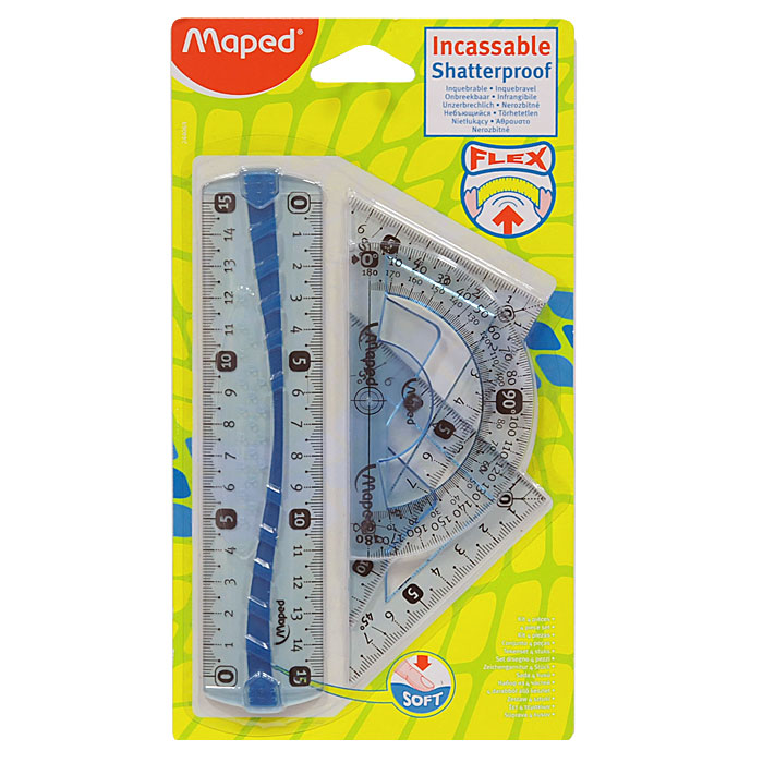 """Геометрический набор """"Maped"""", выполненный из цветного прозрачного пластика, выдержит изгибы, удары, вибрацию и не сломается в школьном портфеле. Состоит из четырех предметов: линейки на 15 сантиметров, транспортира на 180 градусов и 2 угольников. Один угольник с углами 45, 45, 90 градусов, одна сторона угольника представляет собой линейку на 8 сантиметров. Второй угольник с углами 30, 60, 90 градусов и линейкой на 11,5 сантиметров. Разметка шкалы нанесена на внутреннюю поверхность чертежных принадлежностей, что предотвращает ее истирание. Несмазывающиеся кромки предотвращают размазывание ручек и карандашей в процессе работы. Легко читаемая двусторонняя шкала - выделены каждые 5 см. Каждый чертежный инструмент имеет свои функциональные особенности, что делает работу с ними особенно удобной и легкой."""