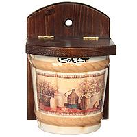 Настенная банка для соли LCS Натюрморт Salt 0,75 л LCS871V-ALVT-1520(SR)Настенная банка для соли Натюрморт изготовлена из высококачественной керамики. Рисунок-натюрморт на бежевом фоне выглядит особенно привлекательно. Настенный держатель и крышка выполнены из натурального дерева. Характеристики: Материал: керамика, дерево. Размер банки с держателем: 18,3 см х 12,5 см х 12,5 см. Объем банки: 0,75 л. Размер упаковки: 13,5 см х 13,5 см х 19 см. Изготовитель: Италия. Артикул: LCS871V-AL.