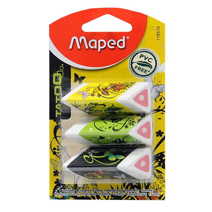 Стильный дизайнерский ластик трехгранной формы, соответствующий естественному захвату руки. Легко и без следов удаляет с бумаги надписи, сделанные  карандашом любой твердости. Трехцветный ластик помещен в бумажный держатель. Не содержит ПВХ.   Характеристики: Размер ластика: 2 см x 4 см x 1,5 см.