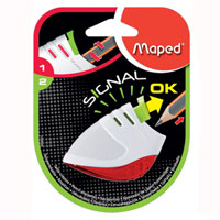 Точилка Maped Signal, цвет: белый, красныйFS-36054Точилка Signal первая в мире точилка, сигнализирующая о том, что карандаш заточен! Для заточки: нажмите на кнопку, заточите карандаш, как только грифель станет достаточно острым, кнопка автоматически поднимется вверх. Характеристики: Размер: 4 см x 6,5 см x 2 см. Материал: пластик, металл. Изготовитель: Китай.