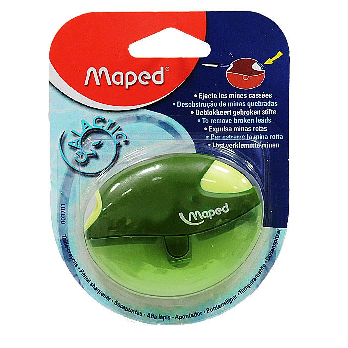Maped Точилка Galactic цвет зеленый72523WDТочилка Galactic выполнена из ударопрочного пластика. Одно нажатие на кнопку освобождает точилку от сломанного грифеля! Полупрозрачный контейнер для сбора стружки позволяет визуально контролировать уровень заполнения и вовремя производить очистку. Характеристики: Размер: 7 см x 5,5 см x 1,5 см. Материал: пластик, металл. Изготовитель: Китай.