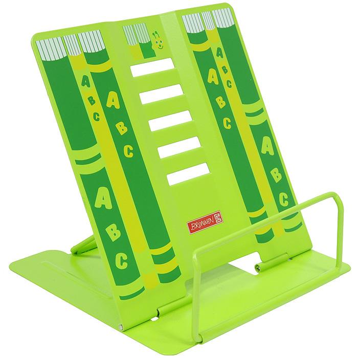 Подставка для книг Brunnen салатового цвета – практичный помощник на столе школьника. Устойчивая металлическая конструкция с совершенно новым исполнением имеет 5 углов наклона. Подставка оформлена изображением книг.   Характеристики: Размер подставки: 16,5 см х 17 см x 15 см.