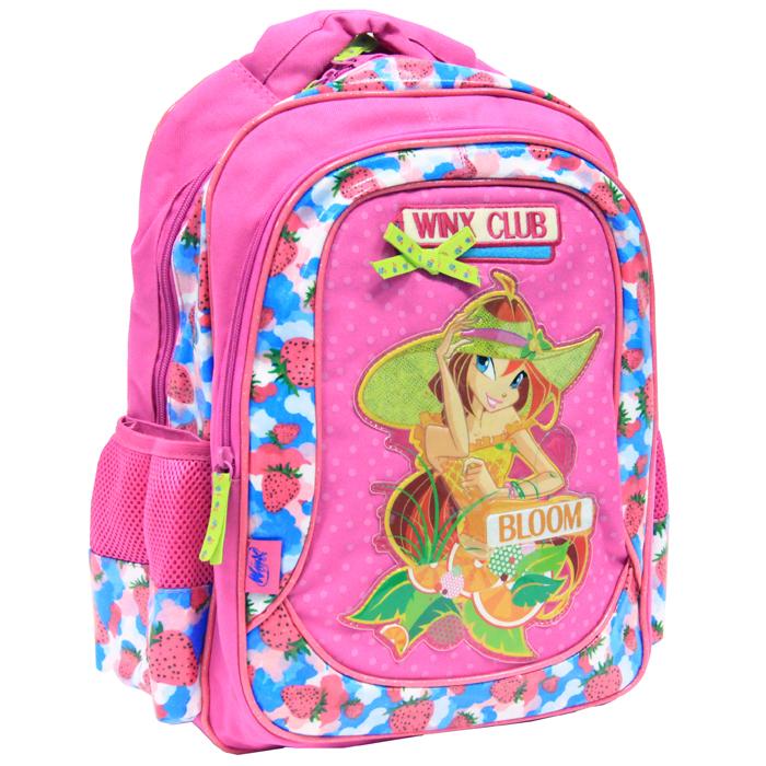 """Детский рюкзак """"Winx Club"""" розового цвета выполнен из плотной ткани и оформлен красочной аппликацией героини известного мультсериала """"Winx Club"""". Рюкзак имеет одно вместительное отделение, закрывающееся на застежку-молнию и карман на застежке-молнии, расположенный на внешней стороне рюкзака. По бокам рюкзак снабжен двумя сетчатыми карманами на резинке для воды, телефона и других школьных принадлежностей. Бегунок оформлен удобным держателем. Рюкзак оснащен уплотненной спинкой, двумя мягкими плечевыми ремнями и удобной текстильной ручкой. Порадуйте свою малышку таким замечательным подарком. """"Школа волшебниц"""" (""""Winx Club"""") повествует о приключениях девочек-фей подросткового возраста, обучающихся магии для поддержания мира в измерении Магикс. Но, кроме того, как и у всех обычных девушек, у фей есть проблемы с личной жизнью, с дружбой и осознанием своего места в этом мире."""