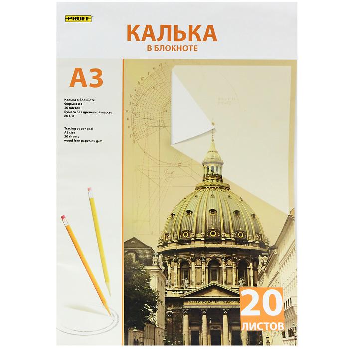 Калька Proff, 20 листов72523WDКалька прозрачная Proff предназначена для получения копий документа или рисунка формата А3.Формат:А3. Размер упаковки:29,3 см х 42 см х 0,05 см.
