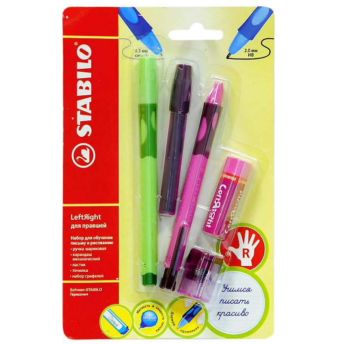 Набор Stabilo Leftright для правшей, цвет: розовый, зеленый, 5 предметовPP-304Набор пишущих принадлежностей STABILO LeftRight д/правшей 5предметов в блистере.(В наборе: шариковая ручка, механический карандаш, грифели для м/карандаша, точилка для грифеля, ластик). Шариковая ручка, механический карандаш, точилка для грифеля имеют маркировку R-для правшей или L-для левшей.Корпусы ручки и механического карандаша трехгранной формы изготовлены из пластика.Зона обхвата трехгранной формы из материала, предотвращающего скольжение пальцев. Ее форма обеспечивает естественное положение пальцев при письме и обеспечивает максимально комфортное письмо для детской руки. Углубления на зоне обхвата показывают ребенку, где располагать пальцы при письме, тем самым обеспечивают правильное положение пальцев ребенка при письме и помогают выработать у ребенка навык правильно держать пишущий инструмент. Длина и вес ручки и карандаша уменьшены, чтобы исключить неблагоприятное воздействие рычага и минимизировать усилия, которые прилагает ребенок при письме. Ручку и механический карандаш можно подписать. Для этого есть углубление для бумажной вставки. Технология Hi-Flux и чернила ручки пониженной вязкости обеспечивают легкое и мягкое письмо практически без нажима и более высокую скорость письма. Чернила быстро высыхают и не размазываются. Толщина линии ручки 0,3 мм. Цвет чернил – синий. Сменный стержень Грифель у карандаша толщиной 2мм, длиной 88мм. (В футлярчике 8 грифелей твердостью НВ) Точилка предназначена специально для грифеля 2мм. Характеристики: Толщина грифеля: 2 мм. Твердость карандаша:НВ. Цвет чернил ручки:синий. Толщина стержня ручки:0,3 мм. Длина ручки:14,5 см. Длина карандаша:13,5 см. Размер упаковки:21 см х 13,5 см х 3 см.