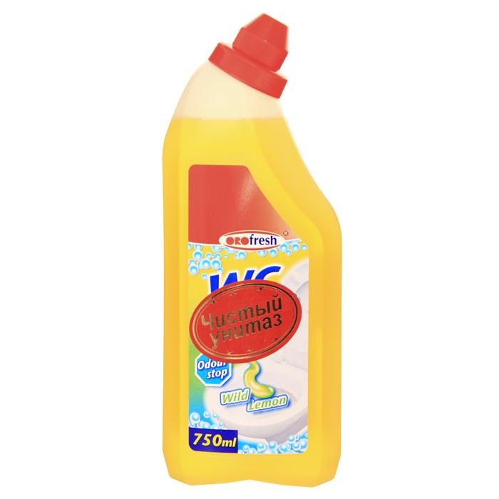 Гель для чистки унитаза ORO-fresh, с ароматом лимона, 750 мл68/5/3Гель ORO-fresh - средство для быстрой и эффективной чистки унитазов. Превосходно, без усилий растворяет грязь, известковые и уриновые отложения, жир и другие устойчивые загрязнения. Гель не оставляет следов и разводов после высыхания, обработанные поверхности приобретают идеальный сияющий блеск. Средство обладает антибактериальным действием и удаляет неприятные запахи, придавая очищаемым поверхностям аромат лимонной свежести. Удобный флакон позволяет использовать средство легко и экономно, даже на вертикальных поверхностях.Характеристики: Объем: 750 мл. Производитель: Германия. Артикул: 01020. Товар сертифицирован.