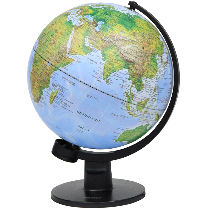 """Глобус """"Proff"""" с физической и политической картами мира станет незаменимым атрибутом обучения не только школьника, но и студента. Глобус дает представление о строении поверхности Земли и о политическом устройстве мира. На нем отображены линии картографической сетки, рельеф суши и морского дна, элементы почвенно-растительного покрова, крупнейшие населенные пункты, теплые и холодные течения, показаны границы государств и демаркационные линии, столицы и крупные населенные пункты, железные дороги и морские рейсы, научные станции в Антарктике, линии перемены дат. Глобус имеет функцию подсветки от электрической сети. Глобус является уменьшенной и практически не искаженной моделью Земли и предназначен для использования в качестве наглядного картографического пособия, а также для украшения интерьера квартир, кабинетов и офисов. Красочность, повышенная наглядность визуального восприятия взаимосвязей, отображенных на глобусе объектов и явлений, в сочетании с простотой..."""