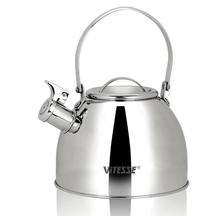 Чайник Vitesse Classic со свистком, 2,5 л. VS-7803115510Чайник Vitesse Classic выполнен из высококачественной нержавеющей стали 18/10. Капсулированное дно с прослойкой из алюминия обеспечивает наилучшее распределение тепла. Носик чайника оснащен откидным свистком, что позволит вам контролировать процесс подогрева или кипячения воды. Подвижная ручка не нагревается, фиксируется в нужное вам положение. Чайник Vitesse Classic подходит для использования на всех типах плит. Также изделие можно мыть в посудомоечной машине. Характеристики: Материал: нержавеющая сталь 18/10.Диаметр основания чайника: 19 см.Высота чайника (с учетом крышки и ручки):25 см.Объем:2,5 л.Размер упаковки:19,5 см х 19,5 см х 16,5 см. Изготовитель:Китай. Артикул:VS-7803.Кухонная посуда марки Vitesseиз нержавеющей стали 18/10 предоставит вам все необходимое для получения удовольствия от приготовления пищи и принесет радость от его результатов. Посуда Vitesse обладает выдающимися функциональными свойствами. Легкие в уходе кастрюли и сковородки имеют плотно закрывающиеся крышки, которые дают возможность готовить с малым количеством воды и экономией энергии, и идеально подходят для всех видов плит: газовых, электрических, стеклокерамических и индукционных. Конструкция дна посуды гарантирует быстрое поглощение тепла, его равномерное распределение и сохранение. Великолепно отполированная поверхность, а также многочисленные конструктивные новшества, заложенные во все изделия Vitesse, позволит вам открыть новые горизонты приготовления уже знакомых блюд. Для производства посуды Vitesseиспользуются только высококачественные материалы, которые соответствуют международным стандартам.
