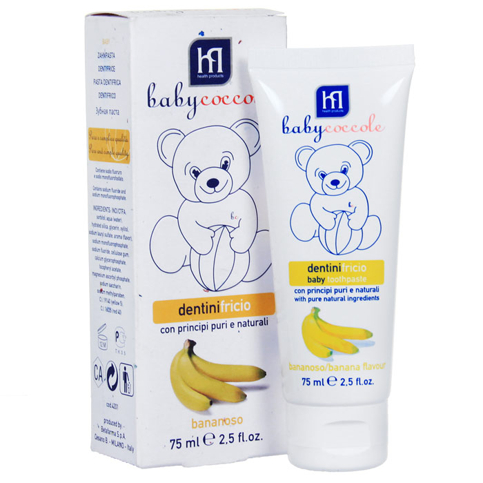 Зубная паста Babycoccole Банан, 75 мл4201Зубная паста Babycoccole Банан специально разработана для первых молочных зубов с приятным фруктовым вкусом банана. Натуральный и восхитительный вкус сможет приучить даже самого маленького малыша к ежедневной гигиене. Эта вкусная паста также предупреждает развитие кариеса молочных зубов, и делает их чистыми и защищенными, и без повреждения эмали. В состав входят фторид, кальций и витамины, которые усиливают структуру зубов. Паста не токсична, безвредна при случайном проглатывании. Не вредит здоровью вашего ребенка независимо от возраста. Характеристики:Объем: 75 мл.Товар сертифицирован.