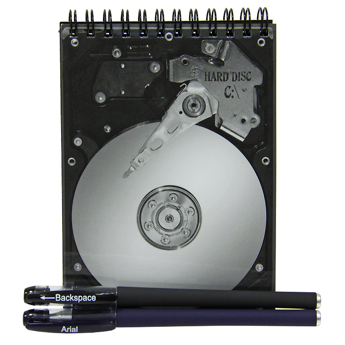 Блокнот Жесткий диск с ручкой и стирателем2093394Оригинальный блокнот Жесткий диск - послужит прекрасным местом для памятных записей, любимых стихов и многого другого. Обложка блокнота выполнена в виде жесткого диска. Внутренний блок выполнен из нелинованной бумаги черного цвета. К блокноту прилагается ручка с белыми чернилами и ручка-стиратель с черными чернилами.Такой блокнот вызовет улыбку у каждого, кто его увидит, а также станет отличным подарком для ваших близких и друзей. Характеристики: Материал: картон, бумага, пластик.Размер блокнота: 10,5 см х 14,5 см х 1 см.Длина ручки: 14,5 см.Размер упаковки: 13,5 см х 16 см х 2 см.Производитель: Россия.