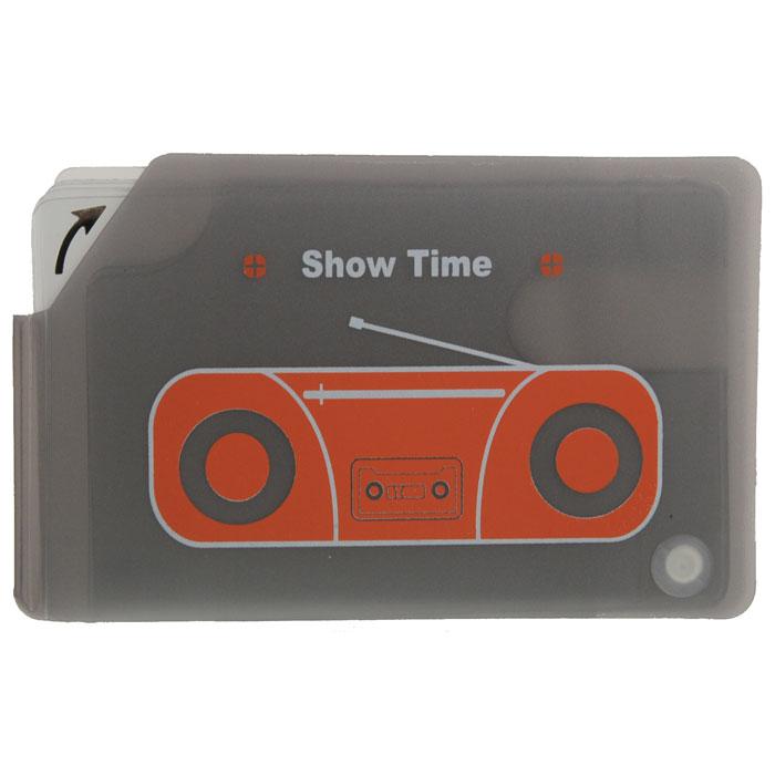 Кредитница МагнитофонW16-11128_323Стильная кредитница Магнитофон рассчитана на 10 карточек. Файлы из мягкого прозрачного пластика бережно сохранят ваши визитки и кредитные карты в одном месте. Нужная кредитка легко извлекается из обложки, благодаря специальному уголку. Обложка оформлена изображением магнитофона. Характеристики: Размер кредитницы: 11,5 см х 7,3 см х 1 см.Материал: ПВХ, пластик. Изготовитель:Китай. Артикул: SD-7109.