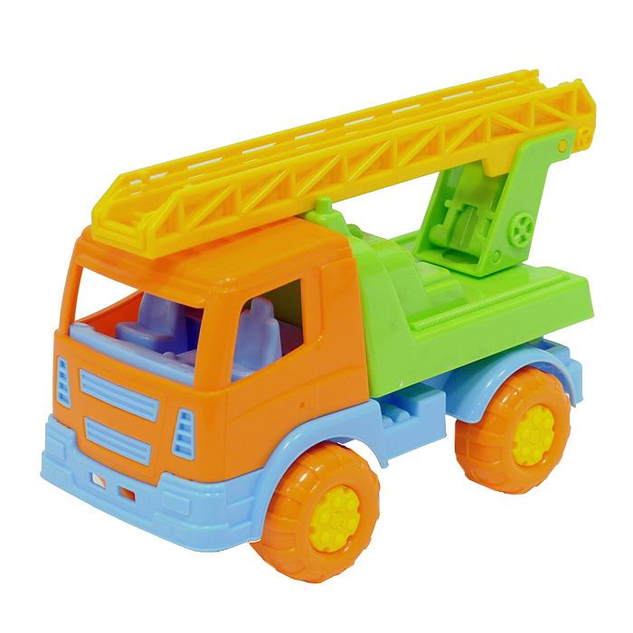 Яркий автомобиль, изготовленный из прочного безопасного пластика, отлично подойдет ребенку для различных игр. Колеса машины крутятся, лестница раскладывается.