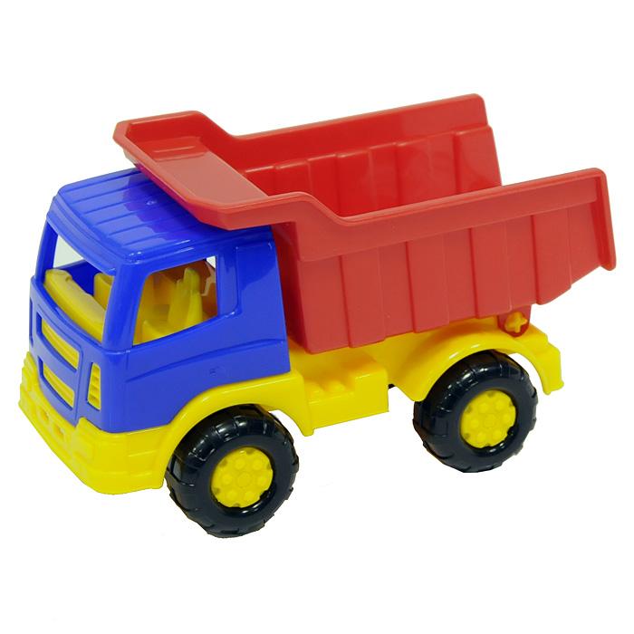 Яркий автомобиль, изготовленный из прочного безопасного пластика, отлично подойдет ребенку для различных игр. Колеса машины крутятся, кузов двигается.