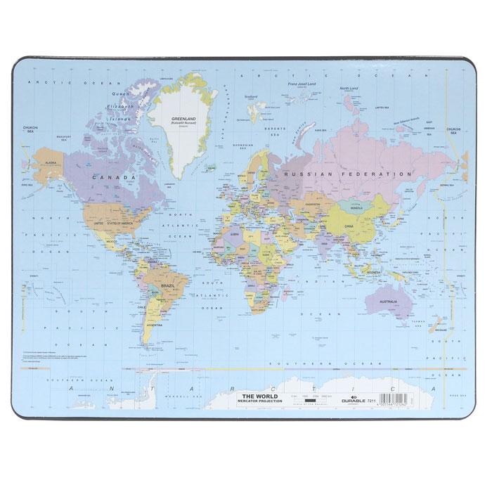 """Настольная подкладка-коврик для письма """"Карта мира"""", выполненная из пластика, оформлена изображением политической карты мира. Она удобна для письма и защищает поверхность рабочего стола."""
