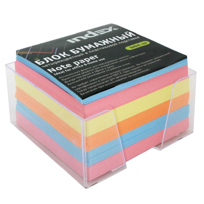 """Бумага для записей """"Index"""" - необходимый настольный аксессуар делового человека. Блок состоит из листов разноцветной бумаги, что помогает лучше ориентироваться во множестве заметок. А яркий блок-кубик на вашем рабочем столе поднимет настроение Вам и Вашим коллегам! Бумага хранится в прозрачной пластиковой подставке."""