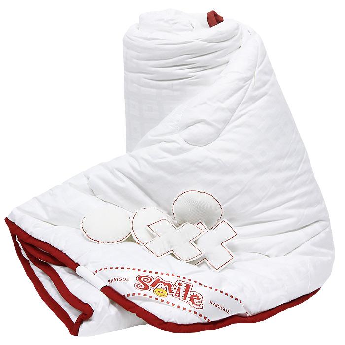 Одеяло Добрый Смайл, 140 х 205 см200(40)04-БВООдеяло Добрый Смайл станет незаменимым атрибутом спальни. Стеганый чехол, выполненный из поликоттона, сохраняет тепло, рассеивает лишнюю влагу, что создает идеальные условия для сна. Одеяло практично и долговечно, за ним легко ухаживать и можно стирать в домашних условиях.Одеяло Добрый Смайл обеспечит комфортный сон для вас и ваших близких!В комплект входят 5 мягких крестиков и 5 ноликов. Характеристики: Материал чехла: поликоттон.Материал наполнителя: полиэфирное силиконизированное волокно.Размер: 140 см х 205 см.Изготовитель: Россия.Артикул: КС21-3-3.Степень теплоты: 3.На сегодняшний день Kariguz является одним из самых успешных российских производителей постельных принадлежностей. В своей работе компания ориентируется на высочайшие европейские стандарты качества, успешно применяя самые передовые технологии и разработки как зарубежных, так и российских специалистов. Многогранный высокотехнологичный процесс производства, включающий этапы мойки, сушки, сортировки, обеспыливания, озонирования, обеспечивает превосходство в производительности и качестве готовых пухо-перовых изделий.