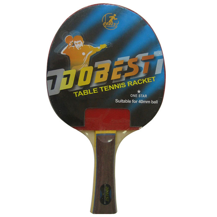 Ракетка для настольного тенниса Dobest. 1 Star332515-2800Ракетка Dobest предназначена для игры в настольный теннис для любителей и игроков начального уровня. Ракетка выполнена из дерева, накладка из резины.Основные характеристики: Контроль: 6. Скорость: 7. Кручение: 6.Характеристики:Материал: дерево, резина.Размер ракетки: 26 см х 15 см.Длина ручки: 10 см.Артикул: BR01/1.Производитель: Китай.
