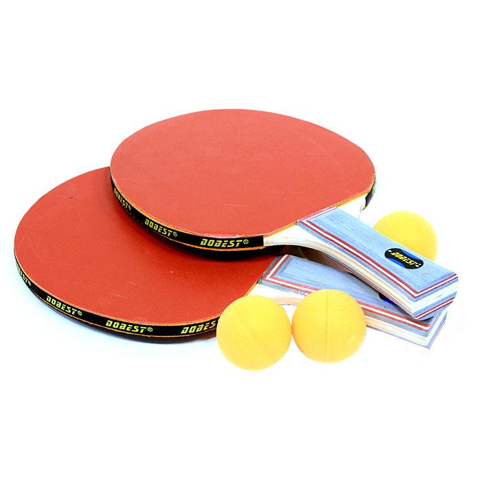 Набор для настольного тенниса Dobest. 0 Star3B327Набор Dobest для настольного тенниса понравится вашему ребенку и надолго займет его внимание.Набор включает в себя две ракетки и три мячика.Настольный теннис - спортивная игра, основанная на перекидывании мяча ракетками через игровой стол с сеткой, цель которой- не дать противнику отбить мяч. Игра в настольный теннис развивает концентрацию внимания, ловкость и координацию. Характеристики:Материал: дерево, резина, пластик.Размер ракетки: 26 см х 15 см.Длина ручки: 10 см.Диаметр мяча: 3,8 см.Артикул: BR06/0.Производитель: Китай.