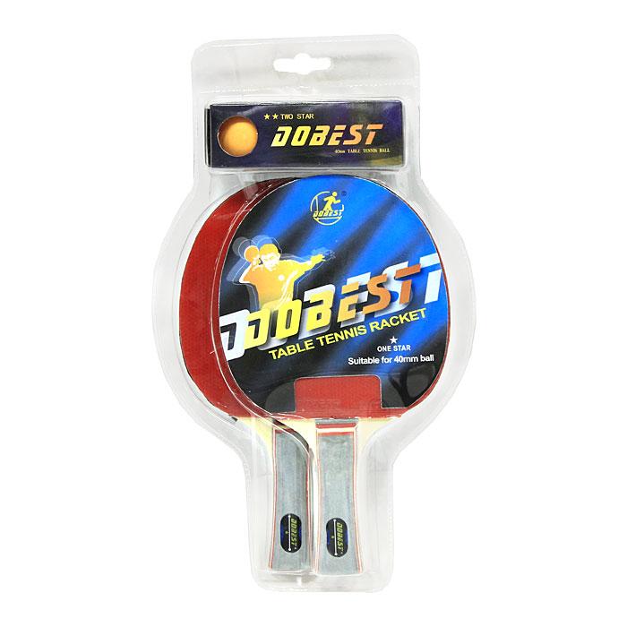 Набор для настольного тенниса Dobest. 1 StarBR20/1Набор Dobest для настольного тенниса понравится вашему ребенку и надолго займет его внимание.Набор включает в себя 2 ракетки и 3 мячика.Настольный теннис - спортивная игра, основанная на перекидывании мяча ракетками через игровой стол с сеткой, цель которой- не дать противнику отбить мяч. Игра в настольный теннис развивает концентрацию внимания, ловкость и координацию. Характеристики:Материал: дерево, резина, пластик.Размер ракетки: 26 см х 15 см.Длина ручки: 10 см.Диаметр мяча: 3,8 см.Артикул: BR20/1.Производитель: Китай.Уважаемые клиенты!Обращаем ваше внимание на цветовой ассортимент товара. Поставка осуществляется в зависимости от наличия на складе.