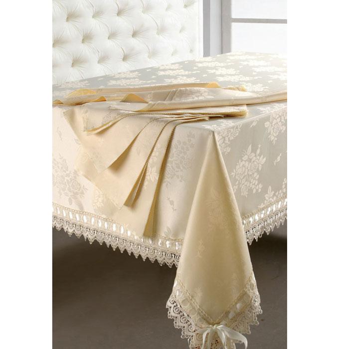 Комплект столовый SL, цвет: кремовый, 9 предметов. 08462W14161386Роскошный столовый комплект SL, выполненный из ацетатного шелка с жаккардовым рисунком, состоит из прямоугольной скатерти и восьми квадратных салфеток с фигурными краями. Края скатерти декорированы изящным кружевом и лентой. Использование такого комплекта сделает застолье более торжественным, поднимет настроение гостей и приятно удивит их вашим изысканным вкусом. Вы можете использовать этот комплект для повседневной трапезы, превратив каждый прием пищи в волшебный праздник и веселье.Жаккард - одна из дорогих тканей. Жаккардовые ткани очень прочны и долговечны, очень удобны в эксплуатации. Изготавливается жаккард благодаря особой технике плетения в основном из хлопчатобумажной, синтетической или смесовой пряжи. Своеобразный рельефный рисунок, который получается в результате сложного плетения на плотной ткани, напоминает своего рода гобелен. Комплект упакован в красивую подарочную коробку. Характеристики: Материал: жаккард (100% полиэстер). Размер упаковки: 50 см х 35 см х 5 см. Производитель: Китай. Артикул: 08462. В комплект входят: Скатерть - 1 шт. Размер: 180 см х 270 см. Салфетка - 8 шт. Размер:40 см х 40 см. Soft Line - мягкая эстетика для вас и вашего дома! Основанная в 1997 году, компания Soft Line является путеводителем по мягкому миру текстиля, полному удивительных достопримечательностей!Высочайшее качество тканей в сочетании с эксклюзивным дизайном и изысканными отделками неизменно привлекают как требовательно покупателя, так и взысканного профессионала!Компания Soft Line предлагает широчайший ассортимент высококачественной продукции разных стилей и направлений. Это и постельное белье из тканей различных фактур и орнаментов, а также уютные пледы, покрывала, стильные пляжные наборы, очаровательные комплекты для маленьких эстетов, воздушные банные халаты для их родителей, текстиль для гостиниц и домов отдыха, удобные матрасы и практичные наматрасники, изысканные шторы и разнообразное столовое бе