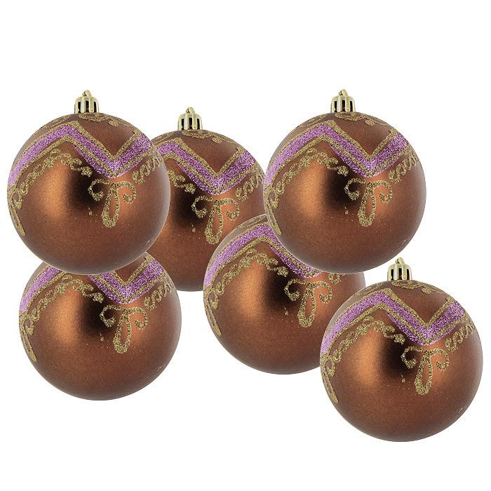 Набор подвесных украшений Шары, цвет: коричневый, 6 шт. 22436K100Набор подвесных шаров украсит новогоднюю елку и создаст теплую и уютную атмосферу праздника. Шары выполнены из пластика коричневого цвета и украшены золотистыми и сиреневыми блестками. Украшения упакованы в прозрачную пластиковую коробку. Елочная игрушка - символ Нового года. Она несет в себе волшебство и красоту праздника. Создайте в своем доме атмосферу веселья и радости, украшая всей семьей новогоднюю елку нарядными игрушками, которые будут из года в год накапливать теплоту воспоминаний. Характеристики: Материал:пластик. Диаметр шара:8 см. Комплектация:6 шт. Размер упаковки:23,5 см х 15,5 см х 8 см. Изготовитель:Китай. Артикул:22436.