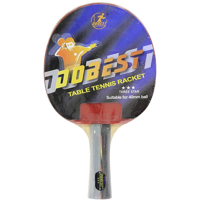 Ракетка для настольного тенниса Dobest. 3 Star3B327Ракетка Dobest предназначена для игры в настольный теннис для любителей и игроков начального уровня. Ракетка выполнена из дерева, накладка из резины шипами внутрь, имеется тонкая губчатая прокладка.Основные характеристики: Контроль: 8. Скорость: 8. Кручение: 9.Характеристики:Материал: дерево, резина.Размер ракетки: 26 см х 15 см.Длина ручки: 10 см.Артикул: BR01/3.Производитель: Китай.