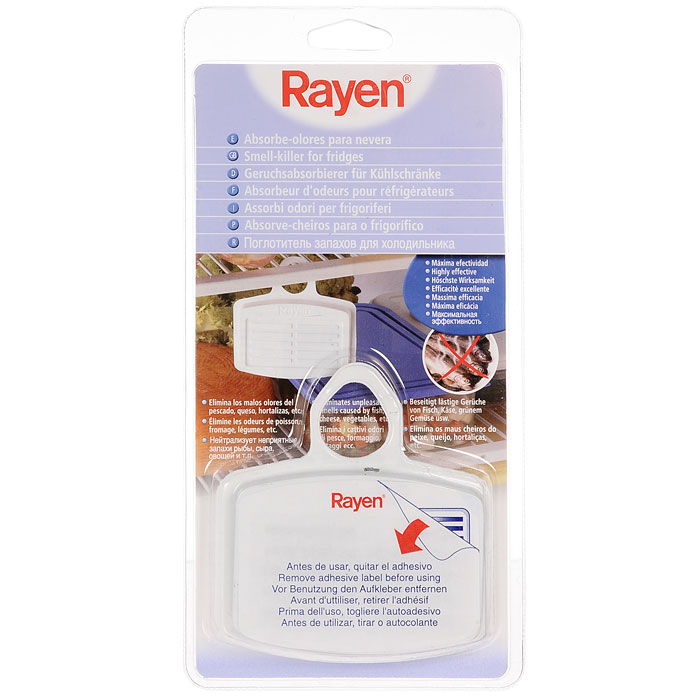 Поглотитель запаха для холодильника RayenCLP446Благодаря естественным свойствам активированного угля, компактный поглотитель запахов Rayen целых три месяца будет сохранять воздух внутри вашего холодильника свежим. Он также предотвращает впитывание посторонних ароматов другими продуктами. Не занимает много места и удобно подвешивается. Предназначен для устранения нежелательных запахов внутри холодильника. Характеристики:Материал: пластик ABC, полиэстер. Состав фильтра: активированный уголь, полиуретановый носитель. Размер поглотителя: 11 см х 7,5 см х 2 см. Размер упаковки: 13,5 см х 26,5 см х 2 см. Артикул: 6315-RY.
