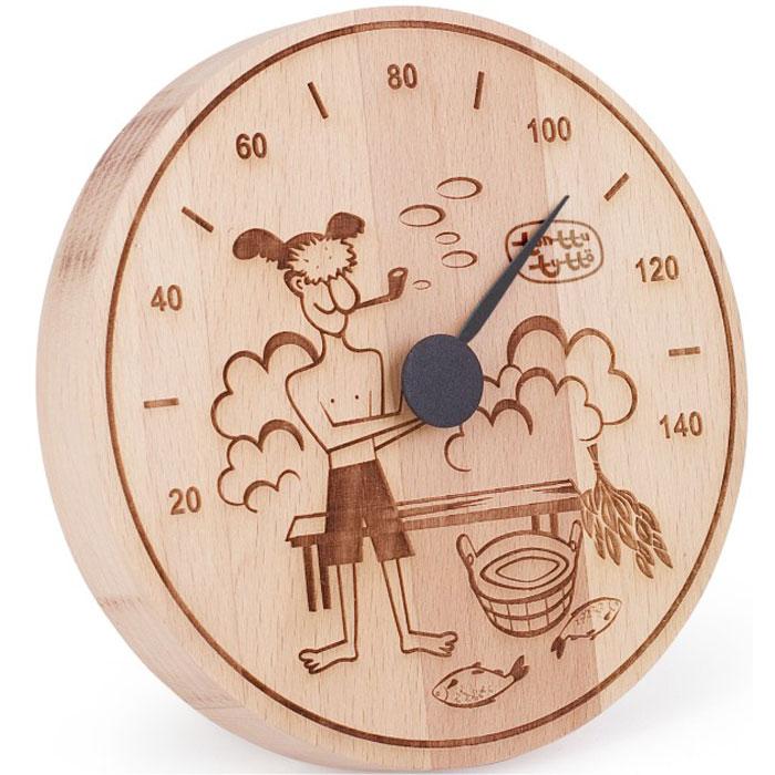 Термометр для бани и сауны Tapio (Тапио). 255255Термометры серии Tapio (Тапио) выполнены из древесины бука, обладающего притягательным розоватым цветом, ее плотность прекрасно переносит перепады температуры, что увеличивает срок службы изделий. Созданные для контроля оптимальной температуры в бане и сауне, они задают стиль банного интерьера.Стрелка механизма меняет настроение озорных персонажей термометров в зависимости от температуры. Максимальная измеряемая температура - 140 градусов. Характеристики: Диаметр термометра: 13 см. Материал: дерево, металл. Производитель: Россия. Артикул: 255.